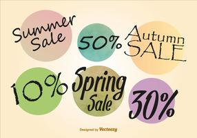 Summer, Autumn and Spring Discount Labels vector