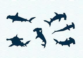 Hammerhead Sharks Vector Silhouettes