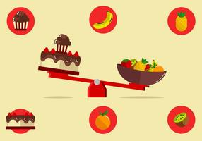 Cake Versus Fruits Over A Seesaw