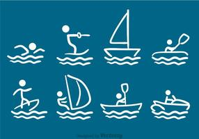 Water Sports Drawn Vectors