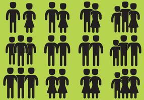 Amis et icônes vectorielles familiales