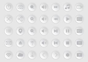 Gray Media Player Buttons