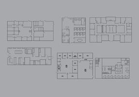 Pack vectoriel de plan d'étage de bureau