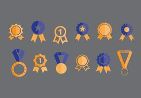 First Place Ribbon Vector Icons Set 1