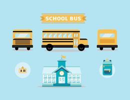 Ensemble vectoriel d'autobus scolaire