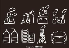 Ícones de vetor desenhado à mão de fábrica