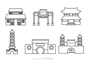 Chinesische Tempel Umriss Icons
