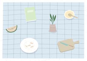 Vector table set illustration