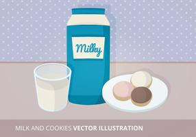 Illustration vectorielle du lait et des cookies