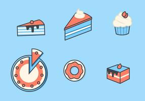 Pastel y postre Vector Icon Set