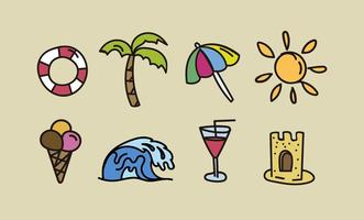 Hand drawn beach elements