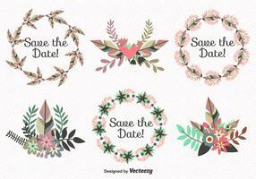 Speichern Sie die Datumsblätter Kranz Vektoren