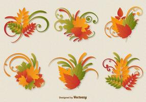 Vetores do ornamento das folhas de outono