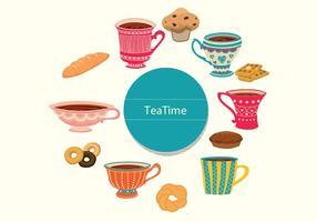 Vetores do tempo do chá