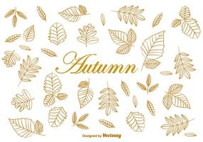 Doodle Autumn Brown Leaves Vectors