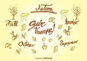 Doodle elementos de otoño