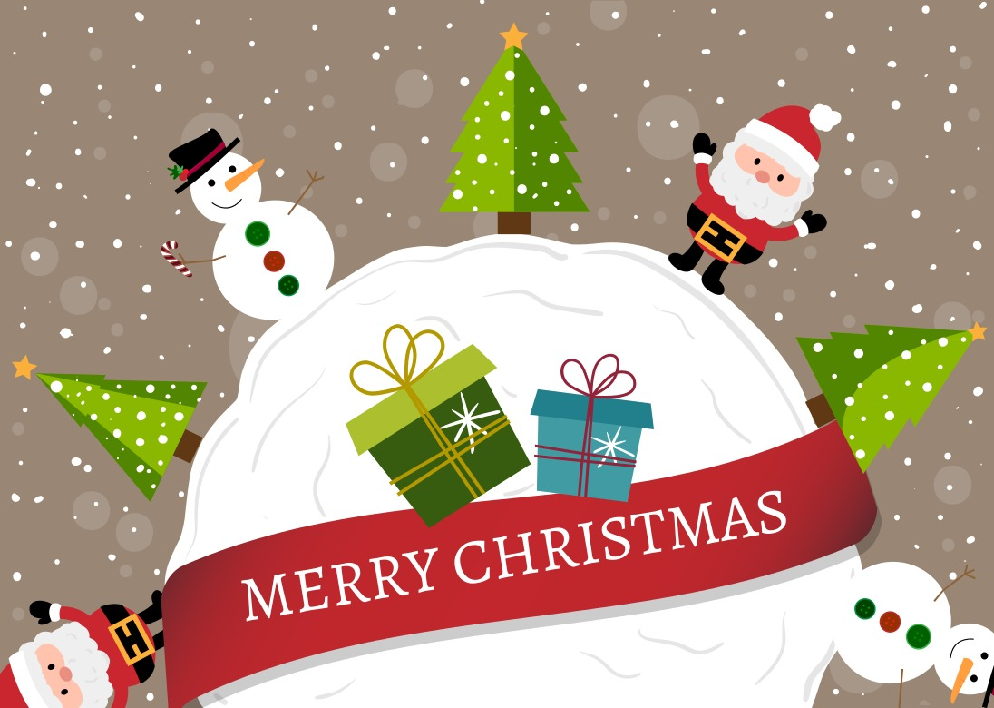 Happy christmas cartoon background - Download Free Vector Art, Stock ...