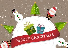 Happy christmas cartoon background vector