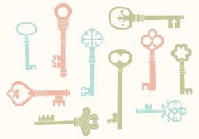 Vetores chave do vintage desenhados à mão