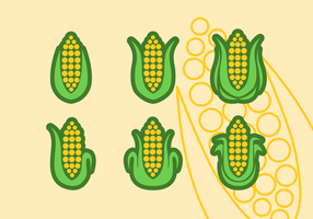 Set Of Ear Of Corn Vector Flat Icons