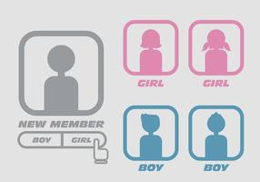 Boy Girl Default Avatar Vectors