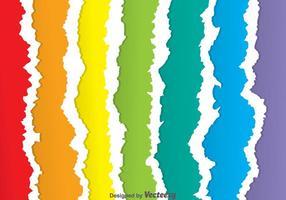 Vetores de papel rasgado com arco-íris