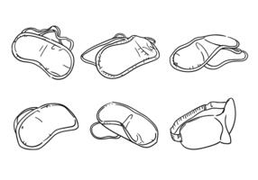 Gekritzel Schlafmaske Vektor Set