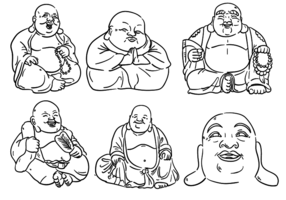 Fat Buddha Outlines vector