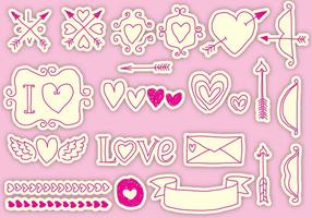 Gezeichnet valentine vector icons