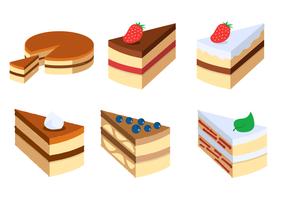 Tårta skiva vektor uppsättning