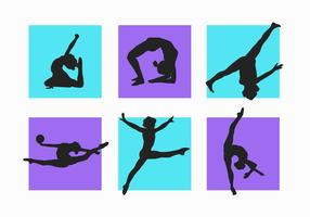 Vrouwen en Kind Gymnastiek Silhouetten Vector Pack