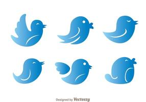 Blue Gradation Twitter Bird Vectors