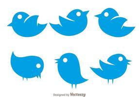 Vector eenvoudige twitter vogel iconen