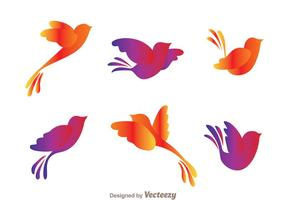 Colorful Flying Bird Silhouette Vectors