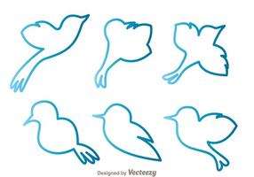 Blue Bird Outline Vectors