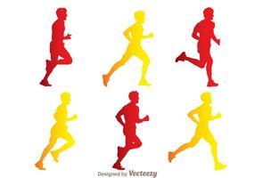 Hombre corriendo silueta vectores