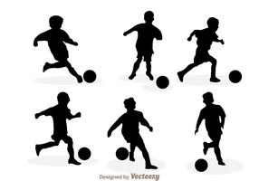 Playing Soccer Silhouette Vectors