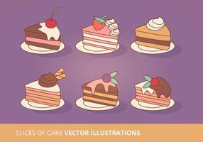 La torta affetta la raccolta di vettore