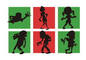 Zombie Cartoon Silhouettes Vectors Pack 2 Free