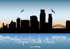 Corpus christi texas skyline illustration