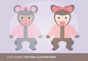 Cute Babies Vector Illustration