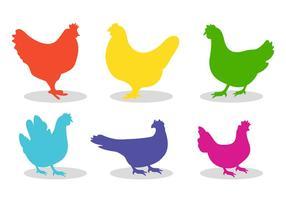 Set of chicken silhouette vectors
