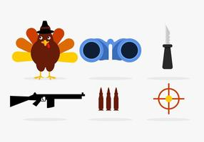 Turkey hunting vector elements