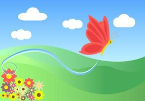 Cartoon Butterfly Landscape Vector Free