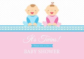 Free Vector Twin Babies Vector Card
