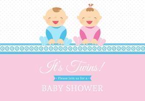 Free Vector Twin Babies Vector Card