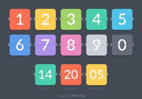 Flat Number Counter Vector Set