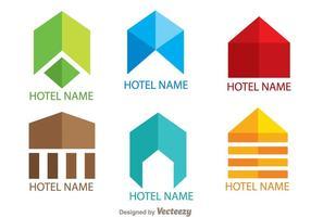 Färgglada enkla Hotell Logo Vektorer
