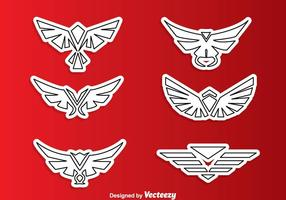 Symmetric Hawk Outline Logo Vectors