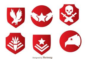 Vecteurs militaires d'emblème rouge